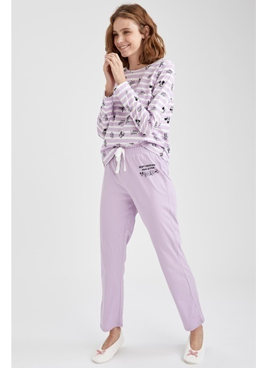 Defacto –Fit Mickey Mouse Lisanslı Pijama Takımı Mor